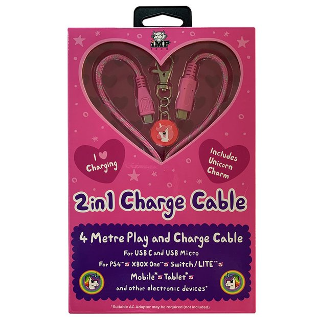 Bilde av 2in1 4m Pink Charge Cable With Unicorn Charm Pink