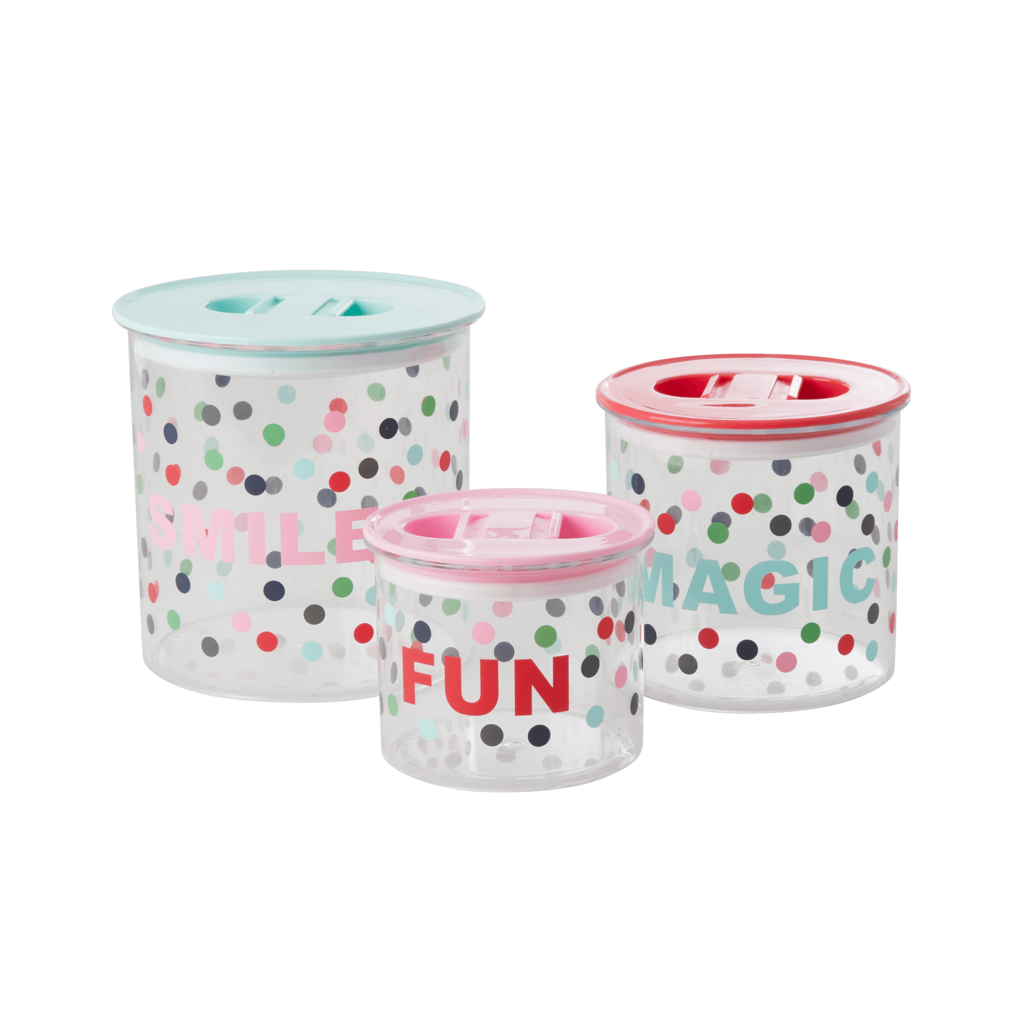 Rice - Food Storage Boxes 3 Pcs. w. Lid - Believe in Red Lipstick Dots Print