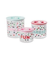 ​Rice - Food Storage Boxes 3 Pcs. w. Lid - Believe in Red Lipstick Dots Print
