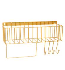 Rice - Metal Shelf w. Hooks in Gold