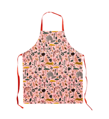 Rice - Kids Cotton Apron w. All Over Jungle Animals Print - Coral