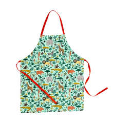 Rice - Kids Cotton Apron w. All Over Jungle Animals Print - Green