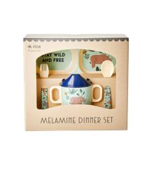Rice - Melamin Baby Spisesæt - Gaveæske - Blå Jungle Dyre Print