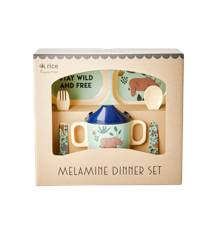 Rice - Melamine Baby Dinner Set Giftbox - Blue Jungle Animals Print