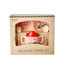 Rice - Melamin Baby Spisesæt - Gaveæske - Pink Jungle Dyre Print
