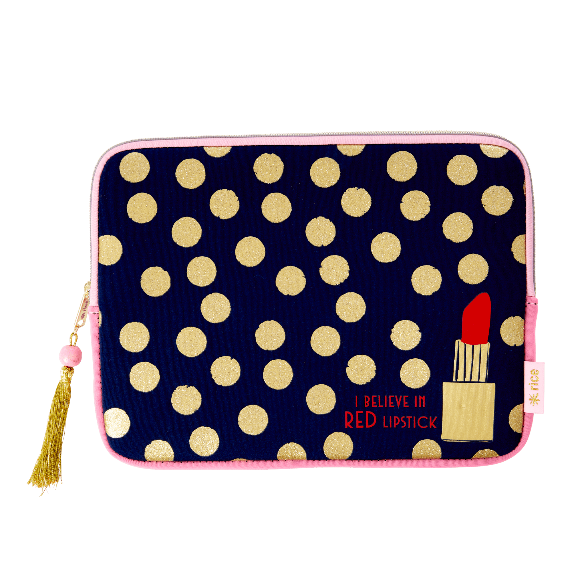 Rice -Tablet Sleeve For 12 Inch - Dark Blue w. Gold Dots and Lipstick Print