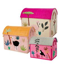 Rice - Stort Sæt med 3 Opbevarings Huse - Pink Jungle Tema