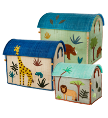 Rice - Large Set of 3 Toy Baskets - Blue  Jungle Theme