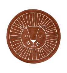 Rice - Round Floor Mat with Lion Face - 90 cm