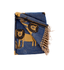 Rice - Blanket w. Lions - Dark Blue