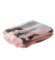 Rice - Wool Mix Blanket w. Checked Design - Pink