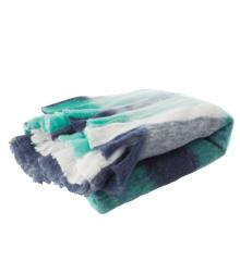 Rice - Uld Mix Tæppe m. Ternet Design - Blue