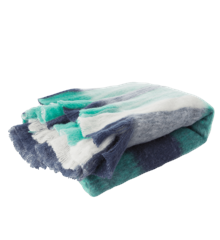 Rice - Wool Mix Blanket w. Checked Design - Blue