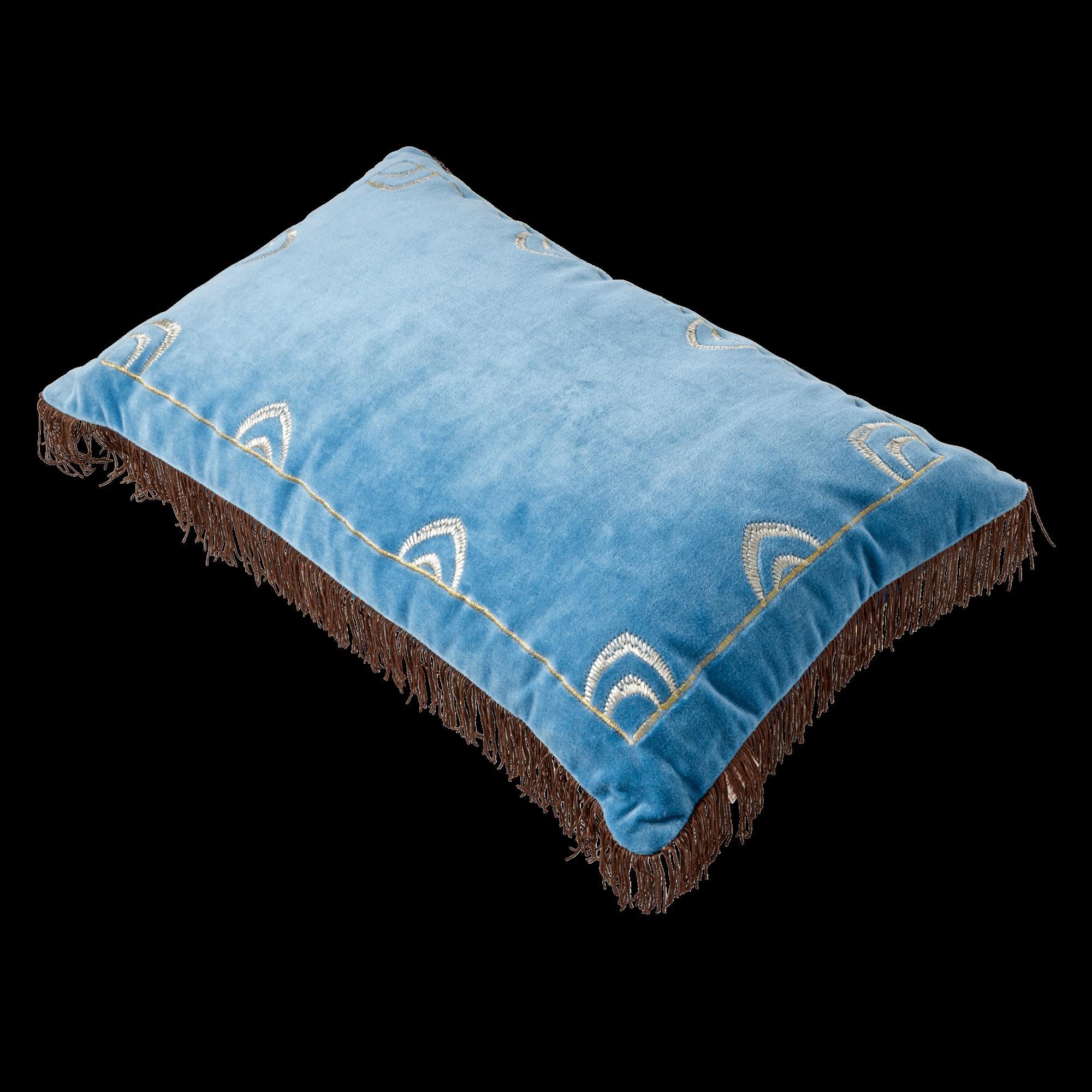 Rice - Rectangular Cushion - Blue w. Brown Tassels