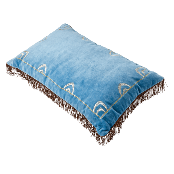 Rice - Rectangular Cushion - Blue w. Brown Tassels