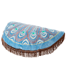 Rice - Half Circle Cushion Blue w. Peacock Embroidery Brown Tassels