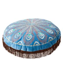 Rice - Circle Cushion  - Blue w. Peacock Embroidery Brown Tassels
