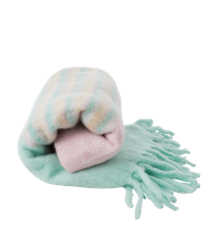 Rice - Wool Mix Blanket - Pink and Mint Stripes