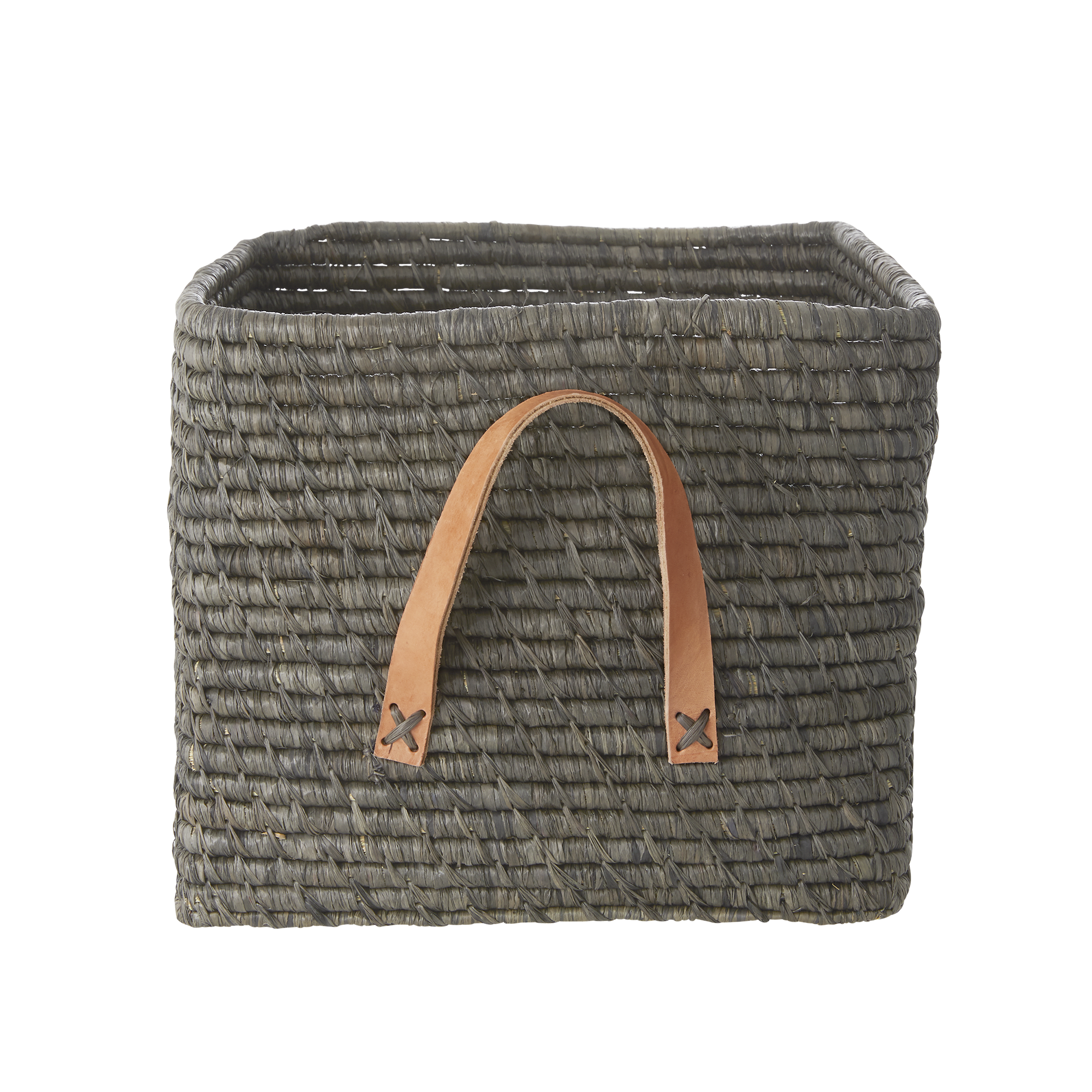 Rice - Small Square Raffia Basket with Leather Handles - Dark Grey Rose