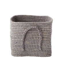 Rice - Small Square Raffia Basket with Leather Handles -Soft Lavender