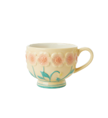 Rice - Ceramic Mug -Embossed Creme Flower Design