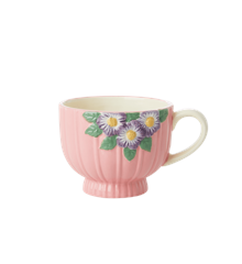 Rice - Ceramic Mug -Embossed Pink Flower Design