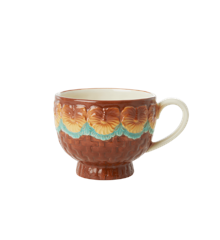 Rice - Ceramic Mug -Embossed Brown Flower Design