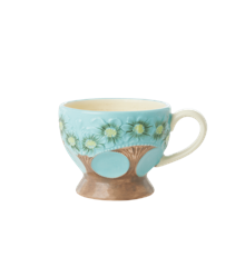Rice - Ceramic Mug - Embossed Turquoise Flower Design
