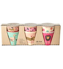 Rice - 6 Pcs Small Melamine Kids Cups -Jungle Print Pink