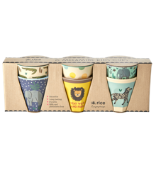 Rice - 6 Pcs Small Melamine Kids Cups -Jungle Print Blue