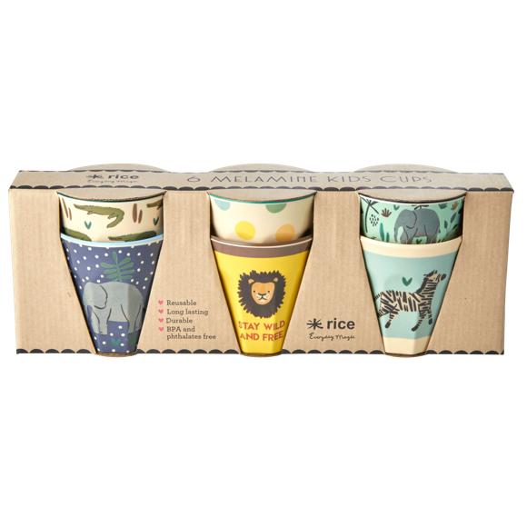 Rice - 6 Pcs Small Melamine Kids Cups -Jungle Print Blue