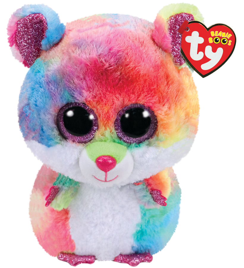 Ty Plush - Beanie Boos - Rodney the Multicolored Hamster  (Medium) (TY36416)