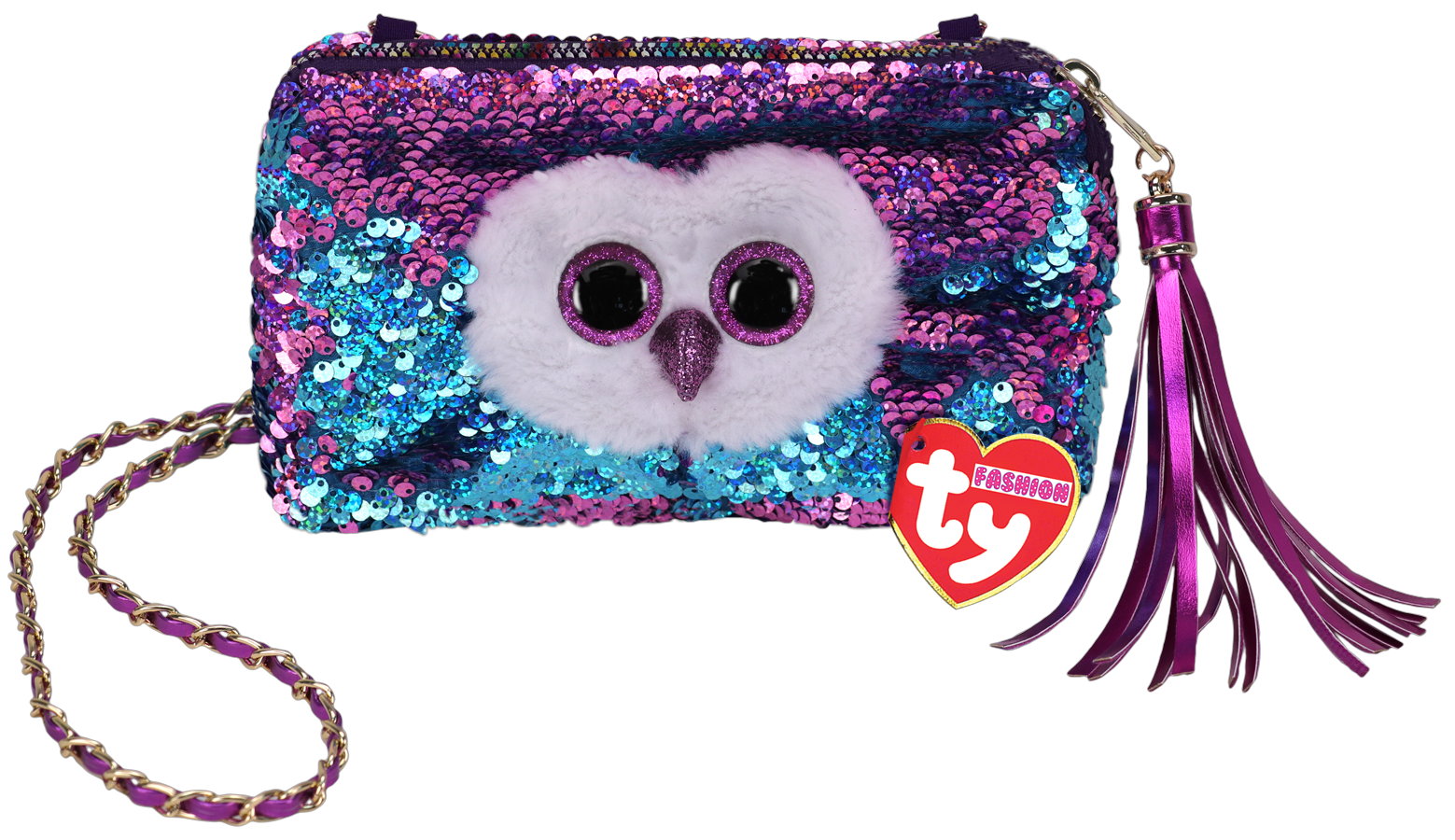 Ty Plush - Sequin Square Purse - Moonlight the Purple Owl (TY95148)