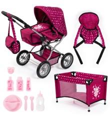 Bayer - Dolls Pram Combi Set - Grande - Pink (15067AB)