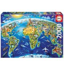 Educa - Puzzle 2000 - World Landmarks Globus (017129)