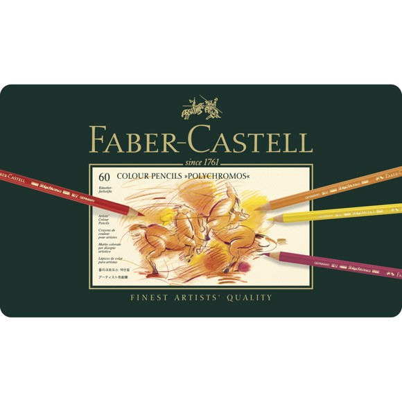 Faber-Castell - Polychromos colour pencil, tin of 60 (110060)