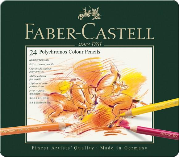 Faber-Castell - Polychromos colour pencil, tin of 24 (110024)