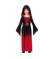 Rød Kjole med Hætte - Børne Kostume (Str. 122 - 134)