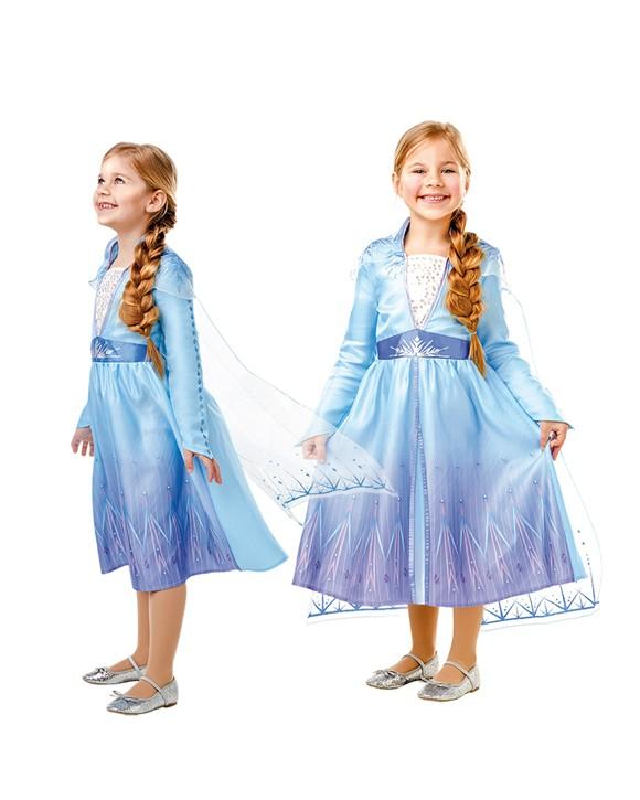 Frost - Elsa Rejse Kjole - Børne Kostume  (Str 116)
