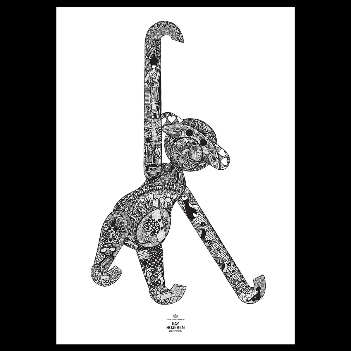 Kay Bojesen - Monkey Poster 50 x 70 cm - Black/White  (39488)