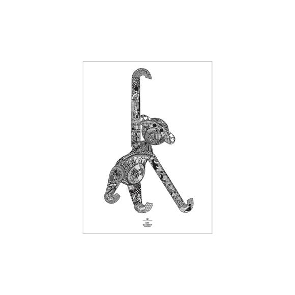 Kay Bojesen - Monkey Poster 30 x 40 cm - Black/White (39497)