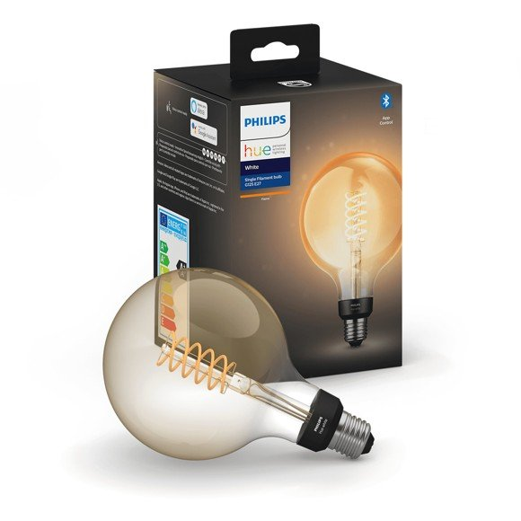 Philips Hue - E27 Filament G125 Globe - Warm White - Bluetooth