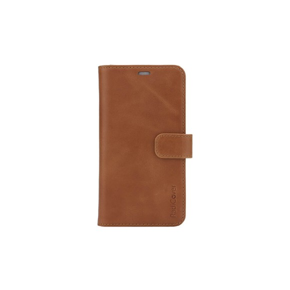 RadiCover - Radiationprotected Mobilewallet Leather iPhone 12 Mini Exclusive 2in1 Magnetcover - Brown