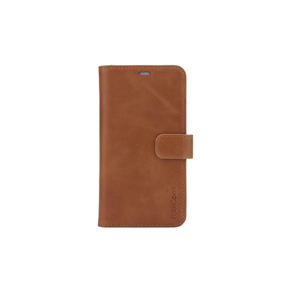 """RadiCover - Strålingsbeskyttelse Mobilewallet Læder iPhone 12 5,4"""" 2in1 Magnetcover - Brun"""