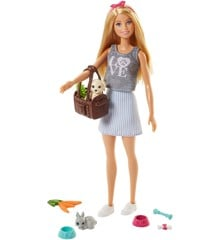 Barbie - Dukke med kæledyr og tilbehør (FPR48)