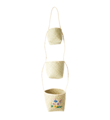Rice - Hanging Seagrass Storage Baskets with Embroidered Flowers