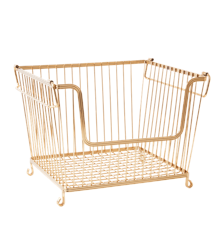 Rice - Stackable Wire Storage Basket in Gold Look - Large Gold