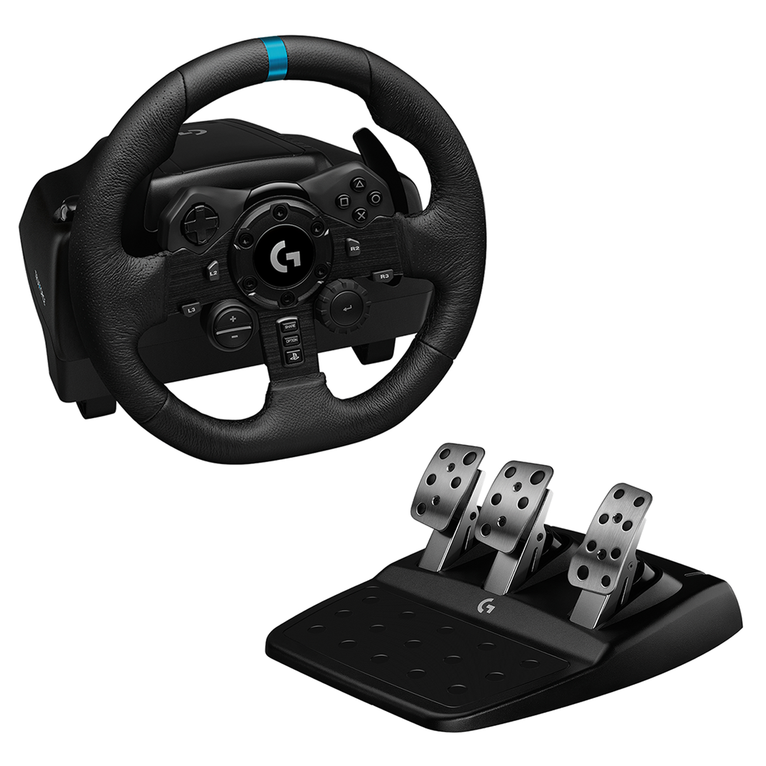 Logitech - G923 Racing Wheel and Pedals for PS4 and PC - USB