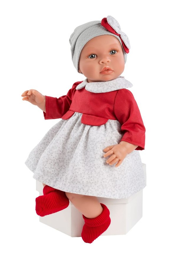 Asi dolls - Leonora doll in red and grey outfit, 46 cm