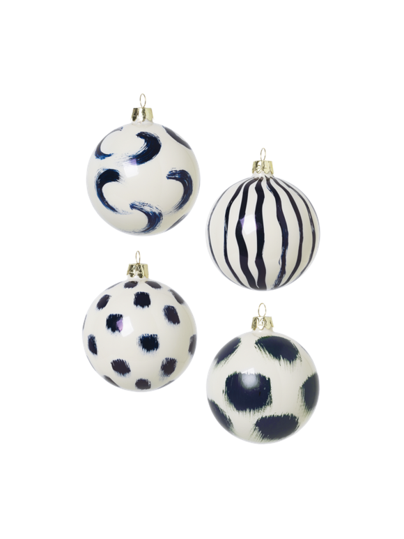 Ferm Living  - Christmas Hand Painted Glass Ornaments Set Of 4 pcs - Blue (100602401)